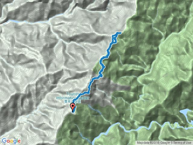 司馬限林道—北坑山登山口—登山小徑—北坑山三角點—木馬道